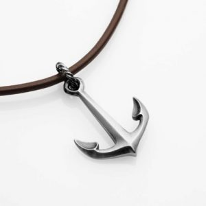 """Silver Anchor necklace o 20"""" leather"""