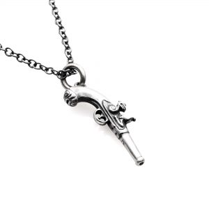 "silver Flintlock pistol necklace on 20"" chain"