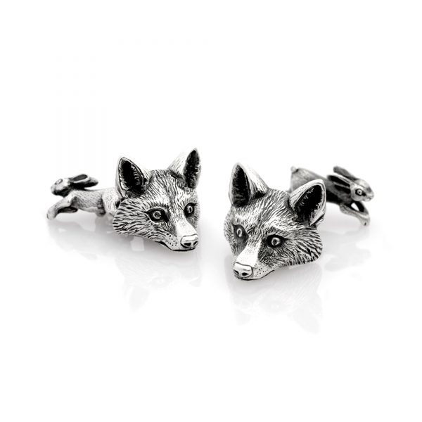Fox and rabbit cufflinks double sided with chain. All silver