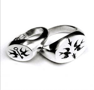 Swallow design signet rings large and small