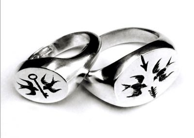 Swallow signet rings