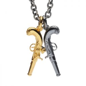 Double flinklock pistol necklace. One silver, one gold vermeil. on rope link chain with T bar clasp