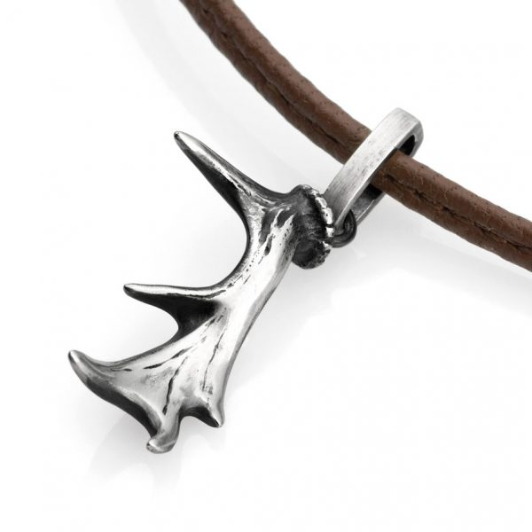 "Silver Stag Antler necklace 20"" leather"